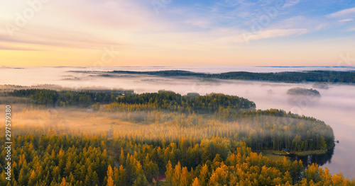 Poster Rivière de la forêt Aerial view of Pulkkilanharju Ridge, Paijanne National Park, southern part of Lake Paijanne. Landscape with drone. Fields, houses and orange forests from above on a sunrise autumn day in Finland.