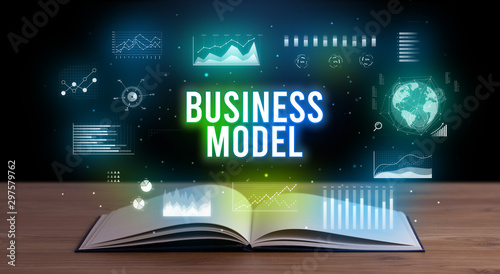 Autocollant pour porte Pays d Asie BUSINESS MODEL inscription coming out from an open book, creative business concept