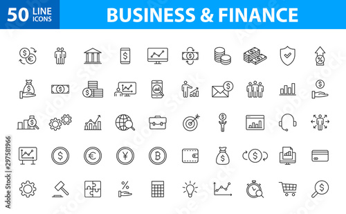 Set of 50 Business and Finance web icons in line style. Money, dollar, infographic, banking. Vector illustration.