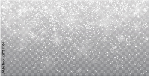 Seamless realistic falling snow or snowflakes. Isolated on transparent background - stock vector. - 297584924