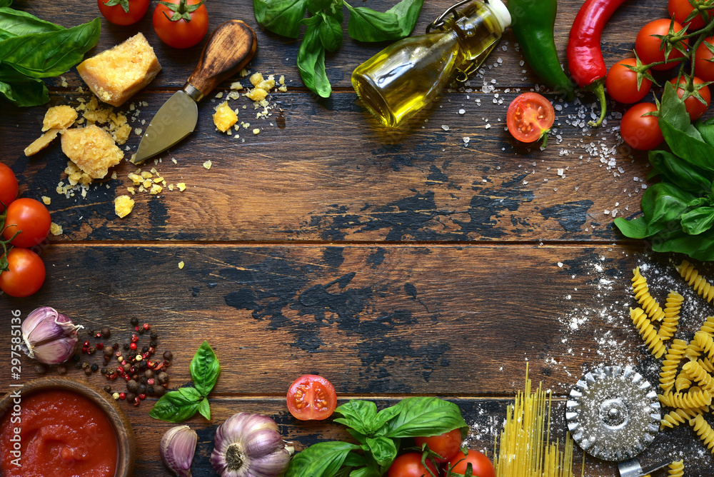 Fototapety, obrazy: Culinary background with traditional ingredients of italian cuisine. Top view with copy space.