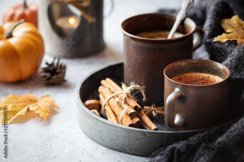 Foto auf Gartenposter Schokolade Fall time concept - two cups of cappuccino coffee with autumnal leaves, chestnuts, acorns and pumpkins at the background. Cold autumn days