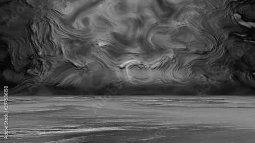 Fototapeta Dark studio background with abstract print. 3D rendering obraz