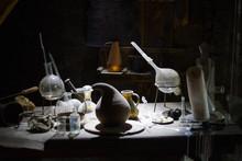 Set Of Alchemy Bottles In Labo...