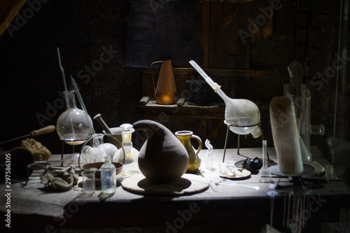 Set of alchemy bottles in laboratory of alchemist Wallpaper Mural