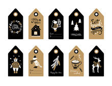Christmas And New Year Gift Tags. Set Of 10 Hand Drawn Holiday Label In Black White And Brown. Vector Illustration.