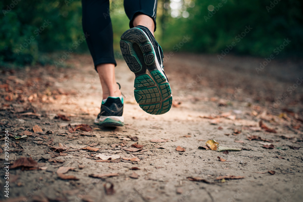 Fototapety, obrazy: Autumn run in the nature on a trail with dry yellow leaves.