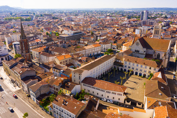 Fototapeta na wymiar Panoramic view from the drone on the city Agen. France