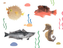 Set Of Fishes Trianle Style Sketch. Polygonal Design Backgrounds.