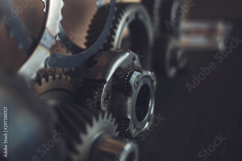 Fototapeta  engine gears wheels, closeup view