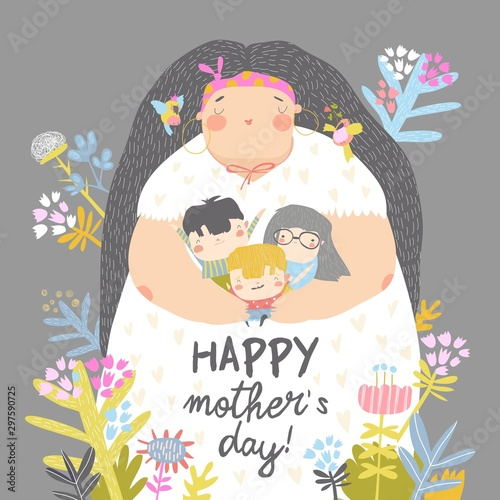 Cute mother holding her children in flowers