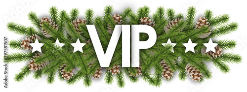 Pinturas sobre lienzo  VIP in christmas background - pine branchs