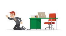 Businessman Being Chained To A...