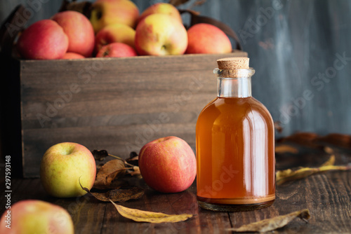 Photo Apple cider vinegar with the mother, yeast and healthy bacteria, surrounded by fresh apples