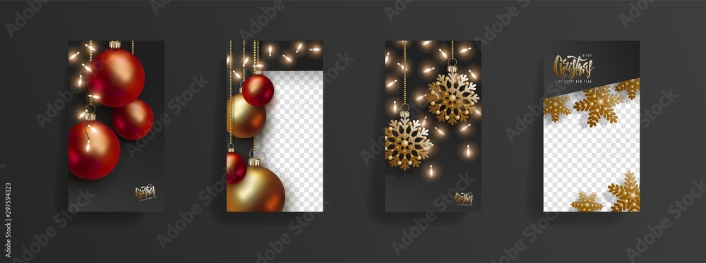 Fototapety, obrazy: Christmas and New Year storys template. Festive black background with red and golden 3D christmas balls, golden snowflakes, glowing light bulbs. Social media, social network, copy space for text