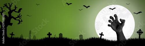 Poster de jardin Route Halloween zombie hand in front of full moon