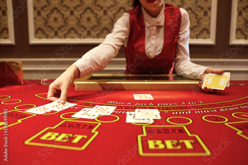 Fotografie, Obraz  The croupier in the casino does a shuffle of cards