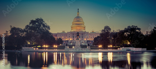 Panoramic image of the Capitol of the United States with the capitol reflecting pool in morning light. #297601954