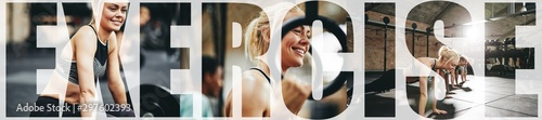 Fotografie, Obraz  Collage of a woman smiling while exercising at the gym
