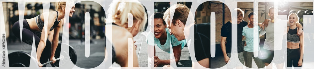 Fototapety, obrazy: Collage of smiling people doing workouts together at the gym