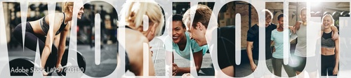 Collage of smiling people doing workouts together at the gym Fototapeta