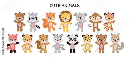 Obraz Different cute animal set - fototapety do salonu