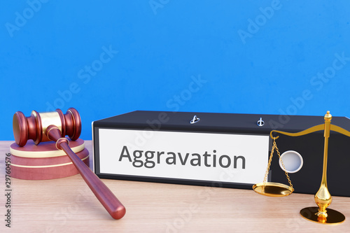 Aggravation – Folder with labeling, gavel and libra – law, judgement, lawyer Wallpaper Mural