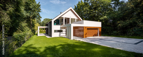 Leinwand Poster Beautiful modern house, exterior view