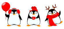 Cute Little Penguin, Set Of Th...
