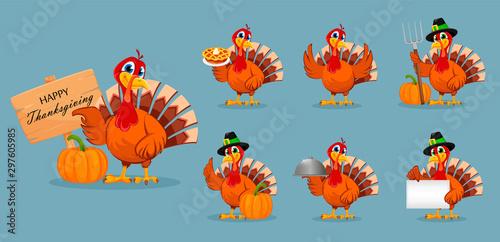 Thanksgiving turkey, set of seven poses Canvas Print