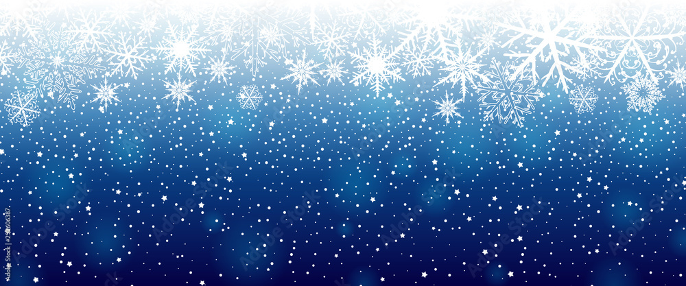 Fototapety, obrazy: Winter background with snowflakes. Vector illustration