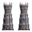 canvas print picture - Dark wizard tower on white. 3d-render illustration