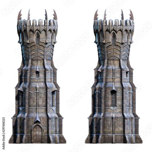 Fototapeta Dark wizard tower on white. 3d-render illustration obraz
