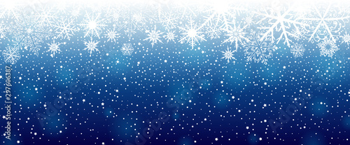 Canvastavla  Winter background with snowflakes. Vector illustration