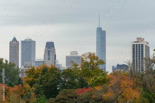 Chicago Skyline seen from Lincoln Park with Colorful Autumn Trees