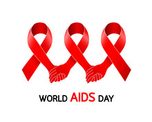 Holding Hands In Red Ribbon. Aids Awareness Red Ribbon. World Aids Day Concept. Icon Design, Illustration Isolated On White Background.