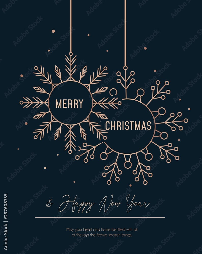 Fototapety, obrazy: Festive rose gold greeting card with snowflakes vector illustration. Merry Christmas and Happy New Year design with flakes of snow on black background. Xmas holidays concept