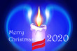 Leinwanddruck Bild - Beautiful abstract image of burning candle on colored background with inscription 2020