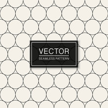 Vector Seamless Geometric Simple Pattern. Thin Grid Texture. Repeating Abstract Minimalistic Background With Circle Shapes