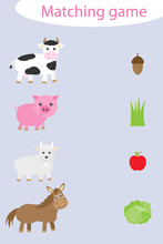 What They Eat, Matching Game With Farm Animals For Children, Fun Education Game For Kids, Educational Task For The Development Of Logical Thinking, Preschool Worksheet Activity, Vector Illustration