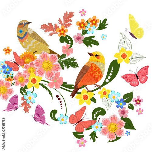 Poster Parrot colorful greeting card with cute birds on beautiful ornamental f