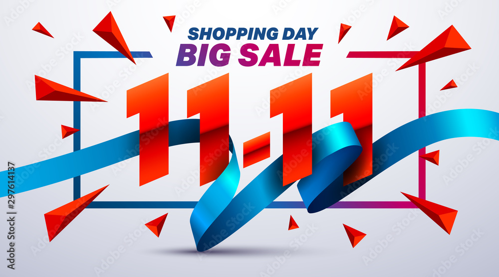 Fototapety, obrazy: 11.11 Shopping day sale poster or flyer design.Singles Day sale banner concep.Sale promotion advertising Brochures,Poster or Banner for November 11 shopping day.Vector illustration