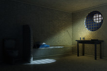 Dark Old Prison Cell Interior ...