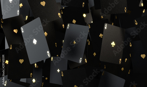Black And Gold Aces Array Wallpaper Mural