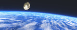Earth from orbit. The moon over the earth, 3D rendering.