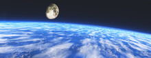 Earth From Orbit. The Moon Ove...