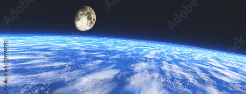 Fotografiet Earth from orbit. The moon over the earth, 3D rendering.