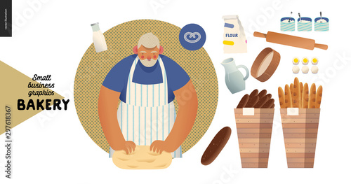Leinwand Poster Bakery -small business illustrations -baker and bread - modern flat vector concept illustration of a baker kneading the dough