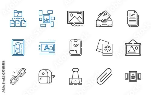 Photo attach icons set