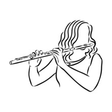 Vector Illustration Of A Girl With Flute